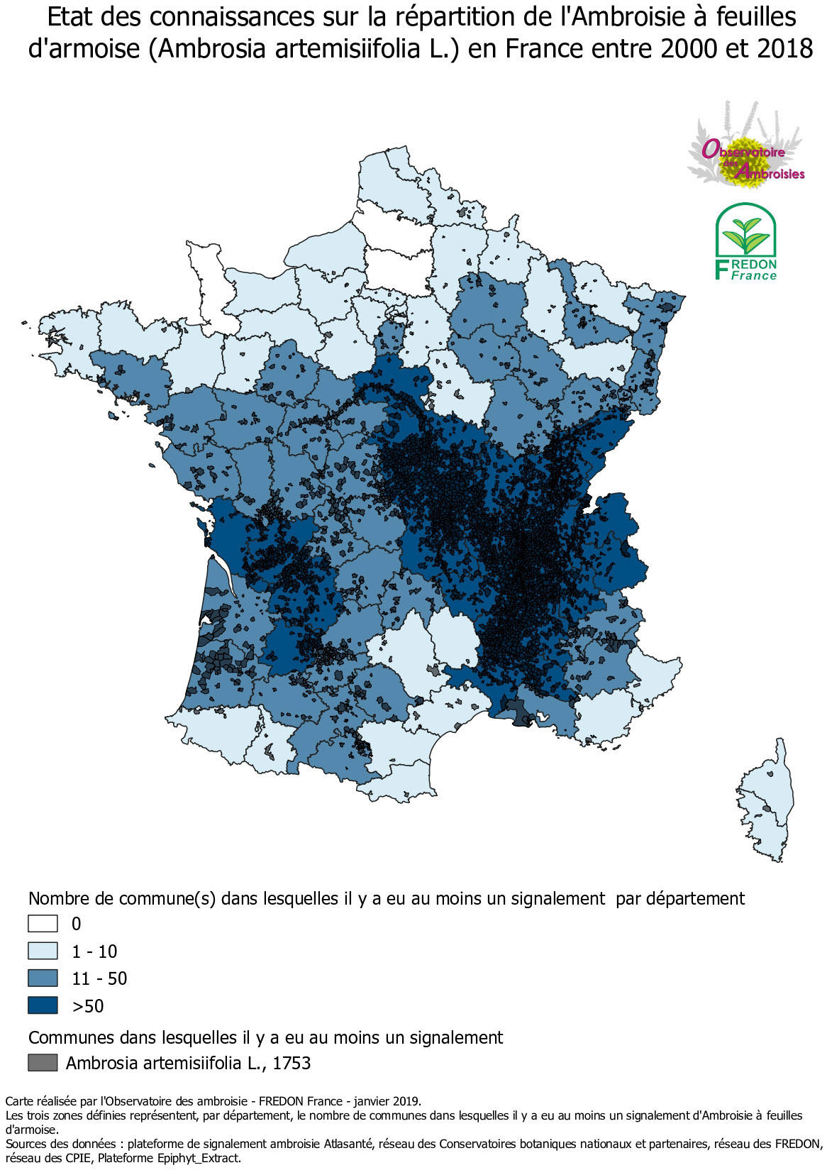 Carte de répartition de l'ambroisie en France